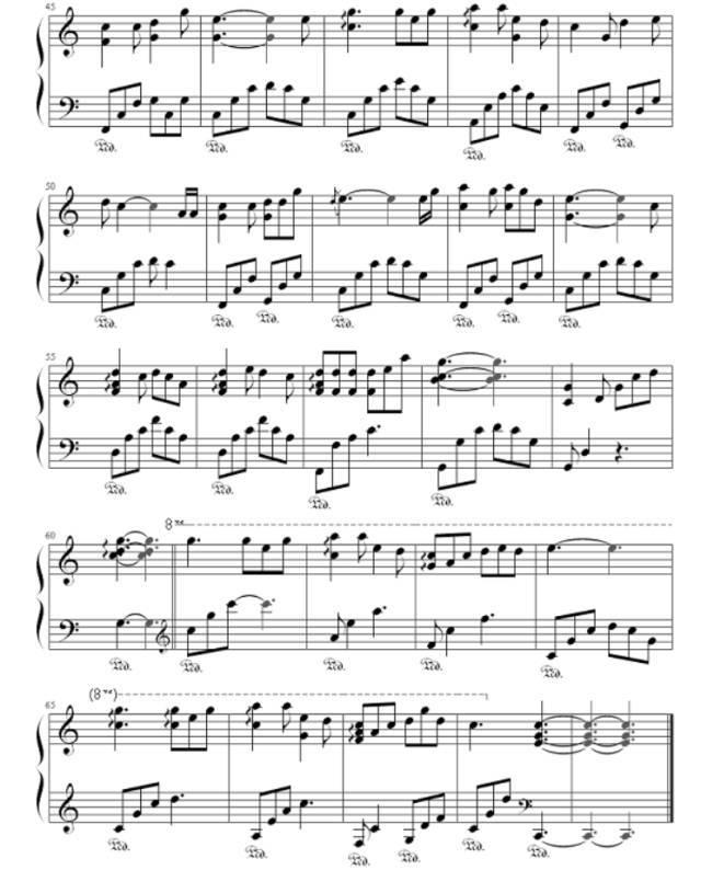 《成都》歌谱五线谱
