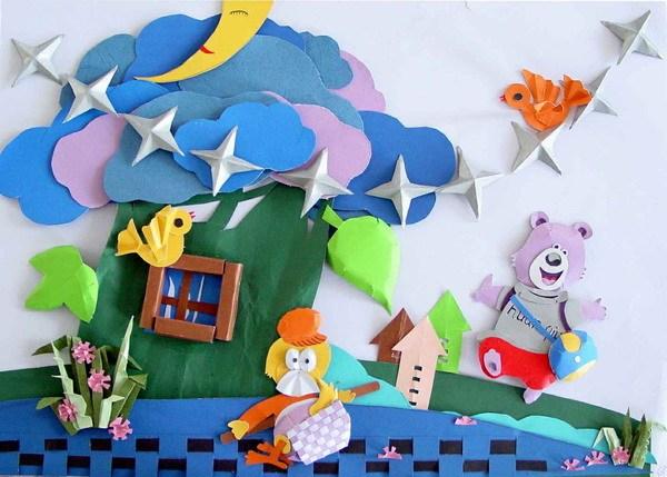 幼儿园创意手工,立体手工墙饰,开学环创必备哦!