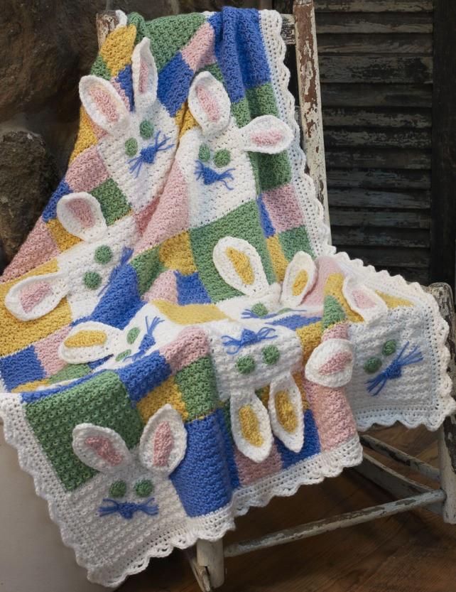 小熊毛毯图解 小兔子图解 也可以先钩一个小方块 最后再拼成大毯子