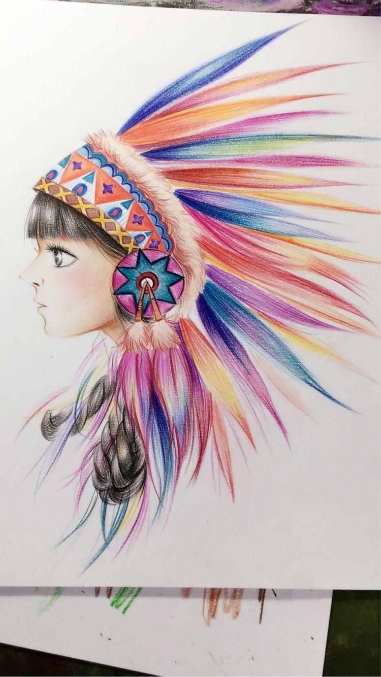 用线条色彩画人物图片