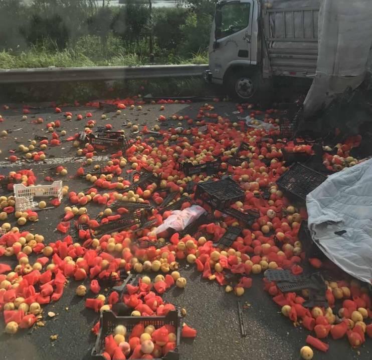 滨海高速出口处两大货车严重相撞!视频
