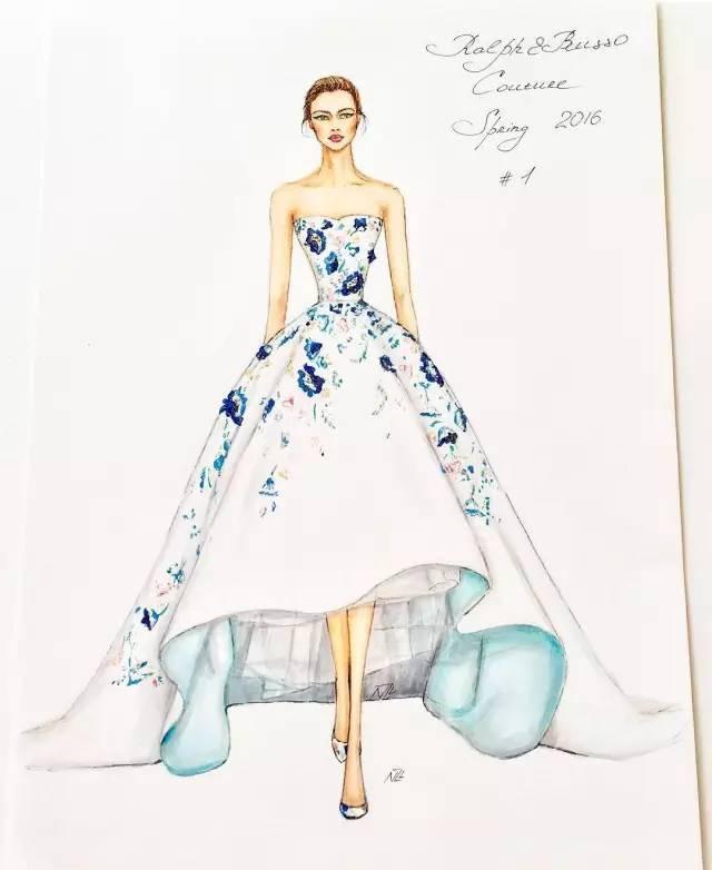【服装稿】 惊艳,80张手绘婚纱礼服【效果图】!