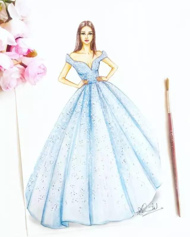 她手绘礼服用了多种类型的笔画的 马克笔,彩铅等为主要上色刻画工具