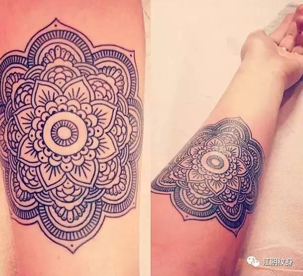 其实曼达拉纹身就是梵花纹身,线条纹身.