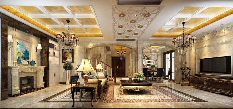 360平欧式别墅,金碧辉煌的别墅装修---风格全景立方客厅武汉光图片