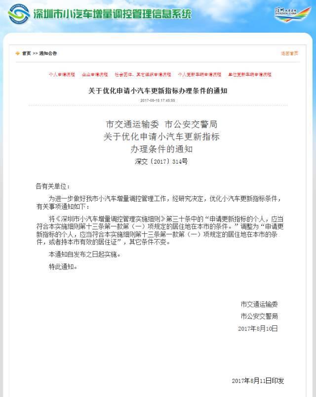 深圳市小汽车增量调控管理实施细则