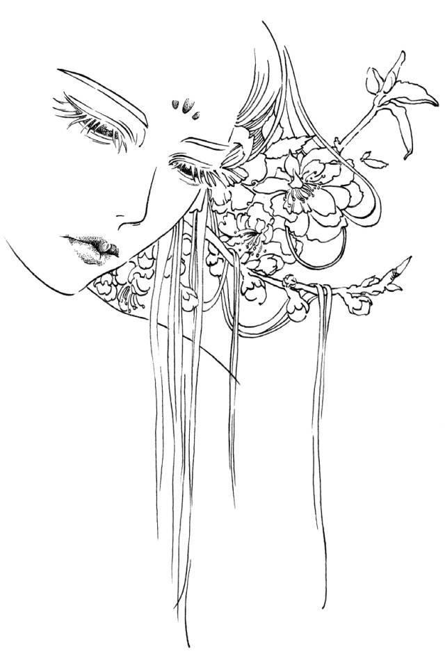 插画中的古典美女,跟随线条寻找宁静