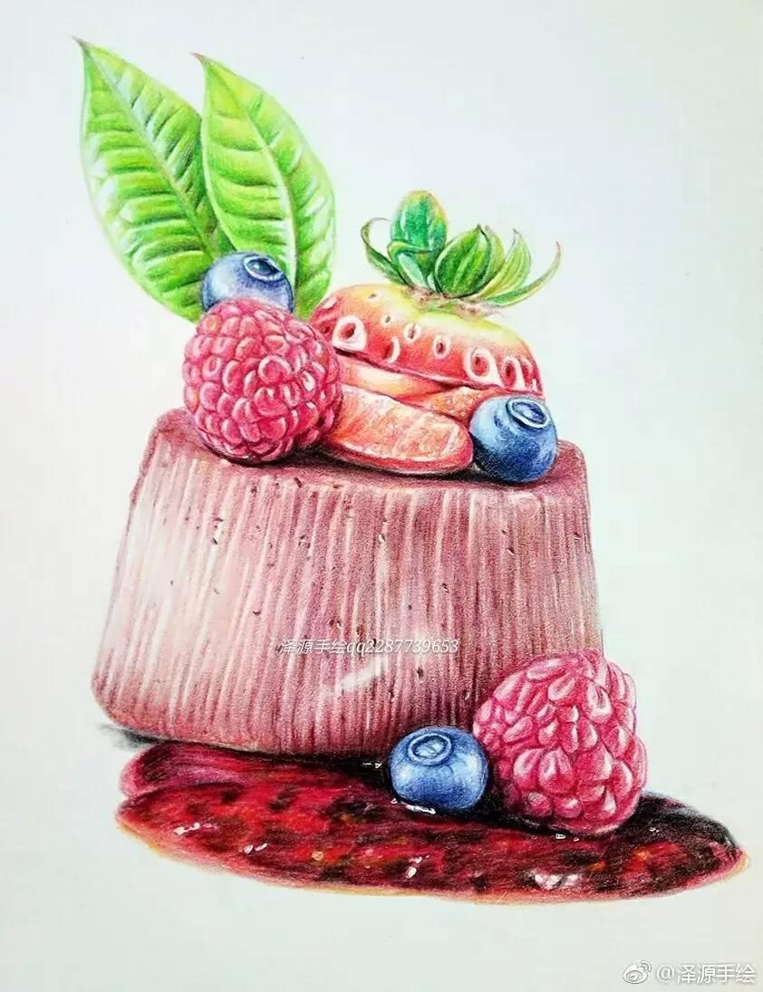 彩铅步骤临摹 | 水果小蛋糕(泽源手绘)