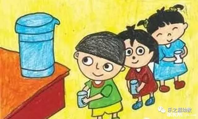 喝水排队简笔画_(3)接了水离开接水区喝水,排队的小朋友在一米线外等候,不推,不挤.