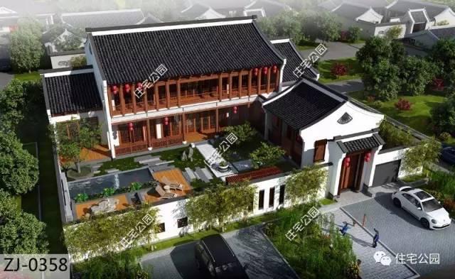 10套中式别墅合集,三合院四合院现代中式都在这里了!图片