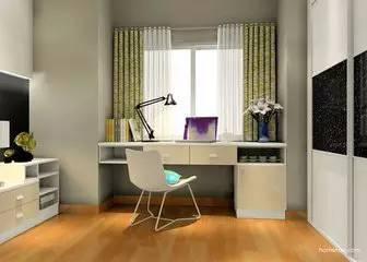 书桌飘窗示意图 在飘窗位置设计书桌,可节约大量的空间.图片