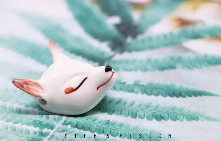 手绘陶瓷狐狸面具项链,智齿陶瓷耳饰