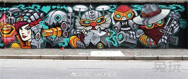 玩家手绘百米涂鸦墙 致敬青春为lol庆生