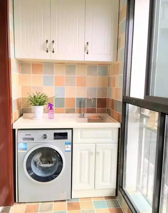 洗衣机放阳台也能时尚美观,这些组合设计太棒啦图片