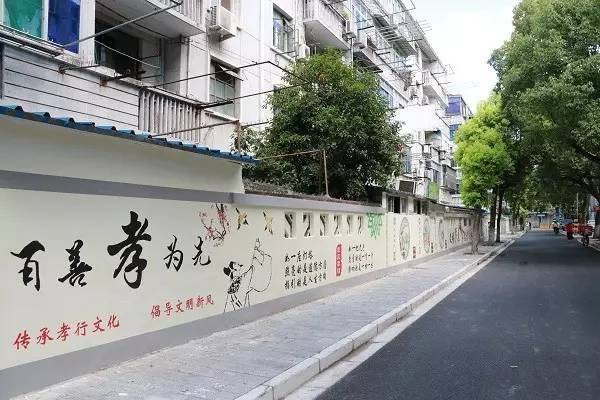 一幅幅精美的手绘画点缀在临街的罗星新村一段墙面上,突出了二十四孝
