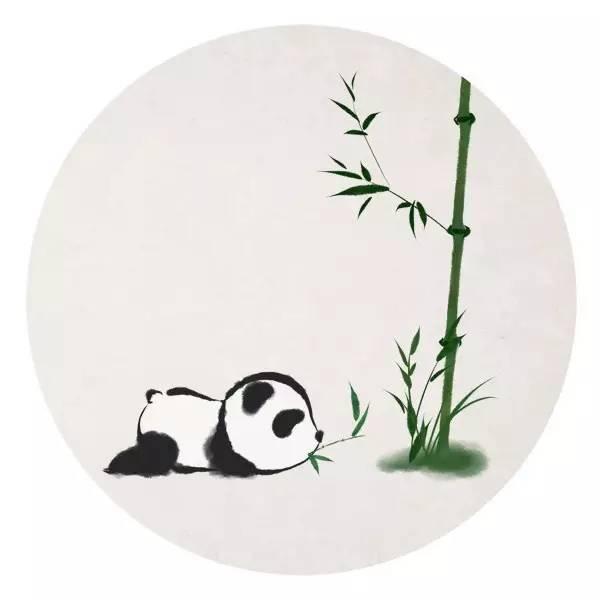 一组类水墨画风格的小熊猫与竹子的唯美小清新插画图片,萌可爱的呦图片