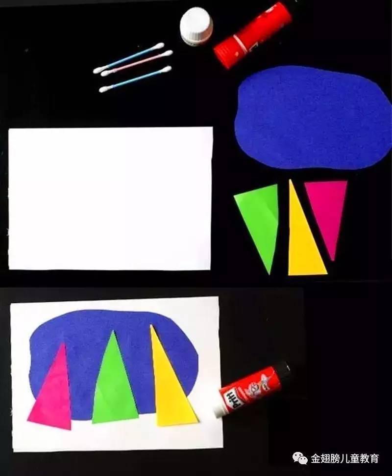 鸡蛋壳拼贴画教案彩条纸、深色做底的图画纸,每组若干.3、事先制