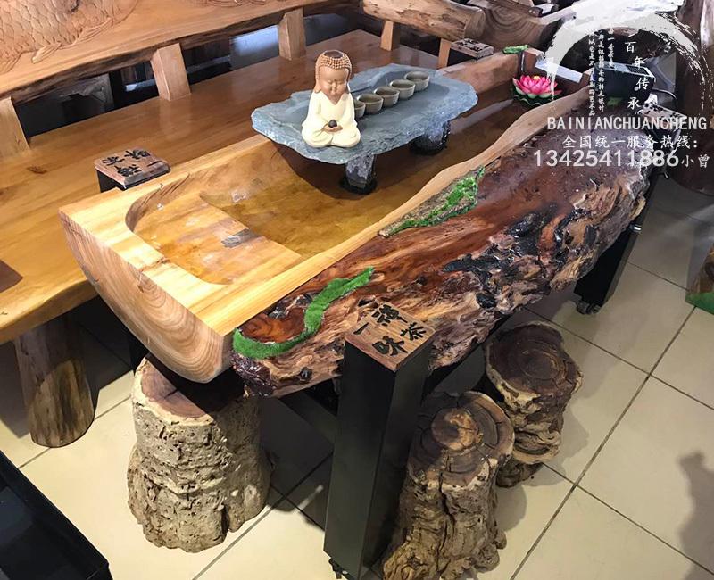 古船木茶桌|香樟木流水茶台|流水桌
