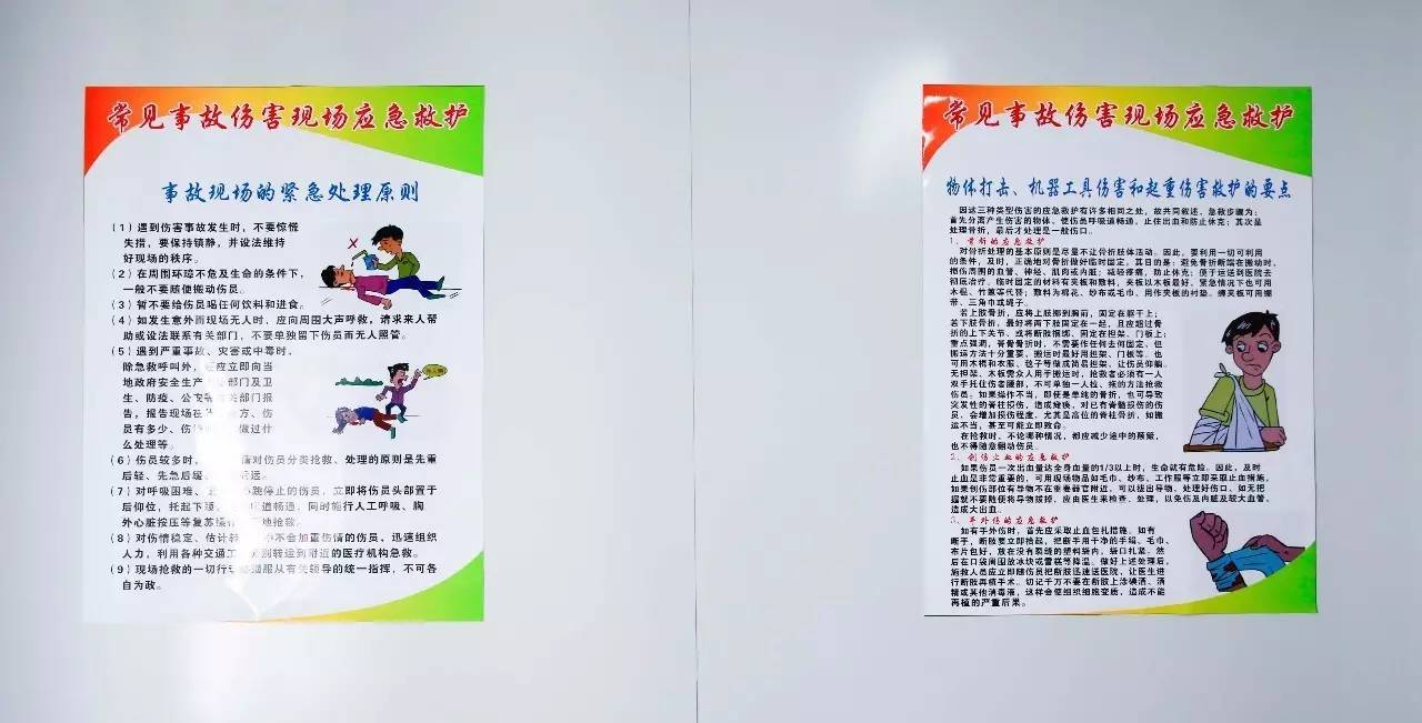 墙面张贴应急救护知识海报