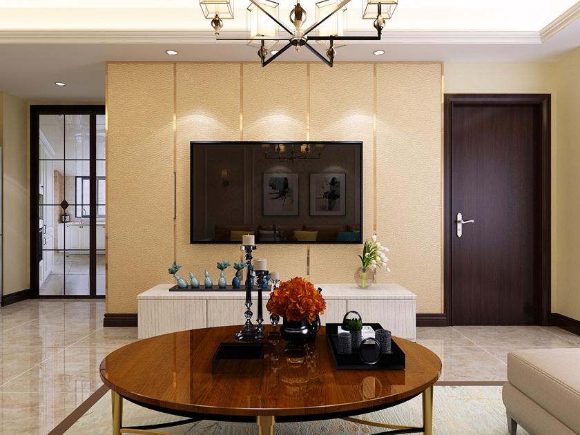电视背景墙效果-港式风格三居室-奥北公元105平米装修效果-石家庄实创