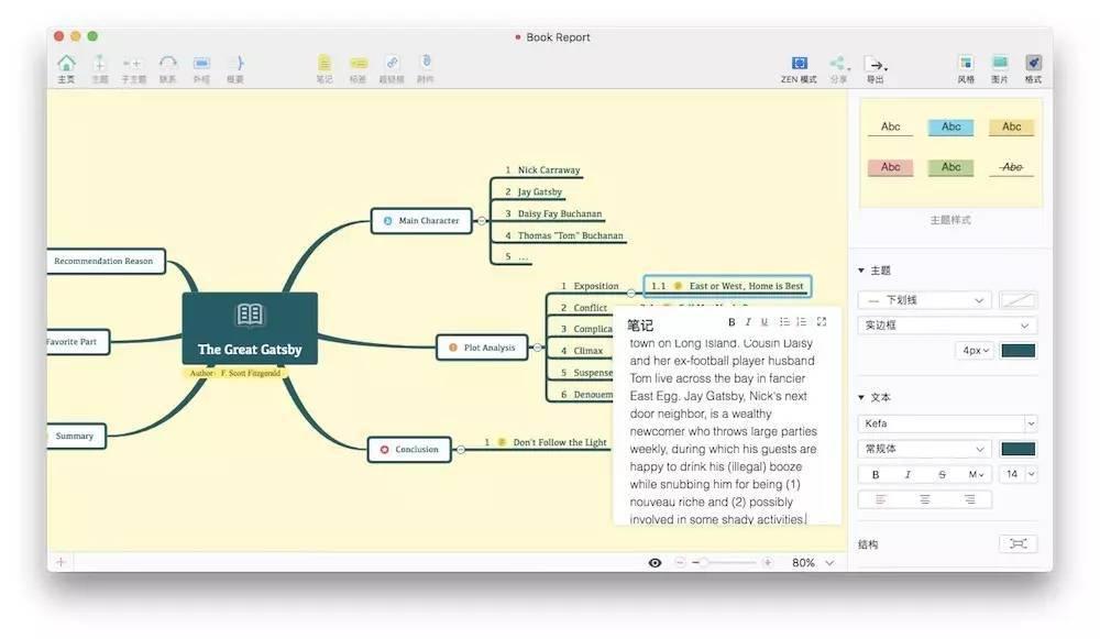 xmind zen 自帶的讀書筆記思維導圖模板,適合用于知識點梳理圖片
