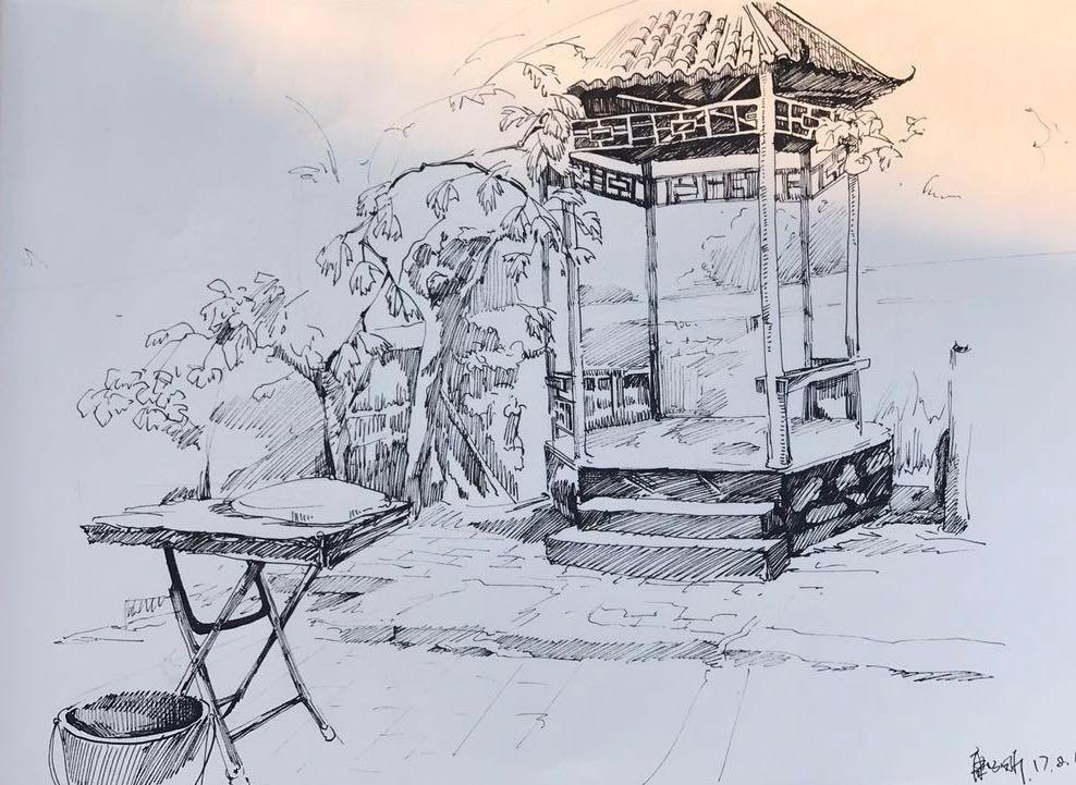 彩铅手绘小清新风景线稿写生
