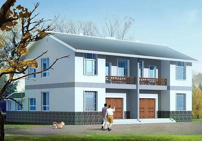 很适合在农村兄弟两个合建房子,占地面积大概200多平方米,两层设计,主图片
