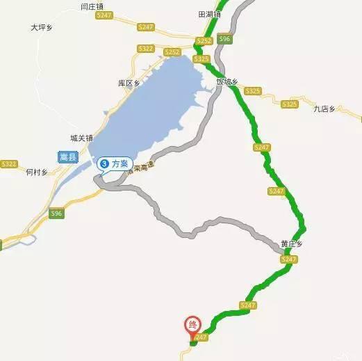 嵩县——上纸路朝黄庄方向——黄庄——车村方向看到手绘小镇牌坊就到
