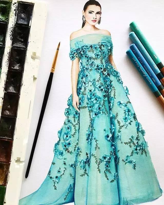 彩铅衣服手绘图