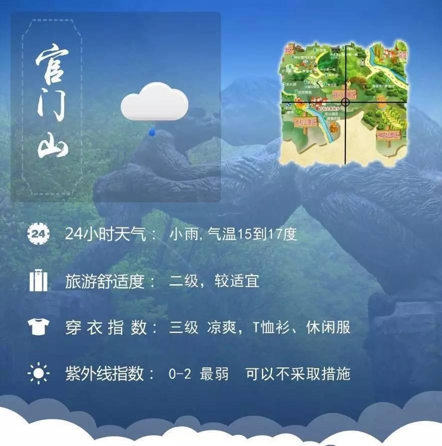 2017年9月1日神农架旅游舒适度预报