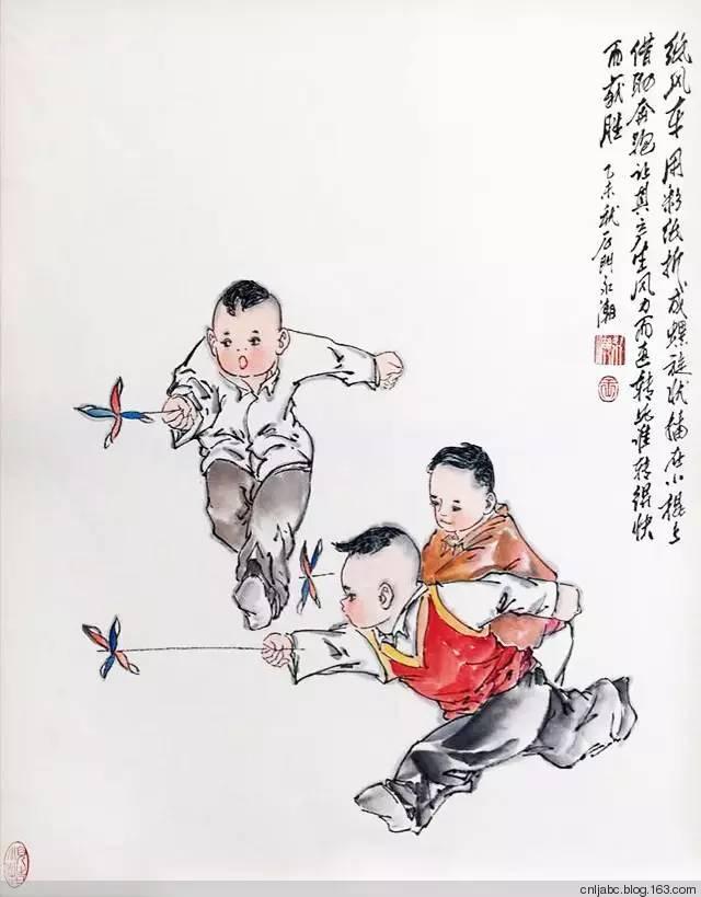 王永潮童趣题材的国画《六七十年代农村孩子玩什么》图片