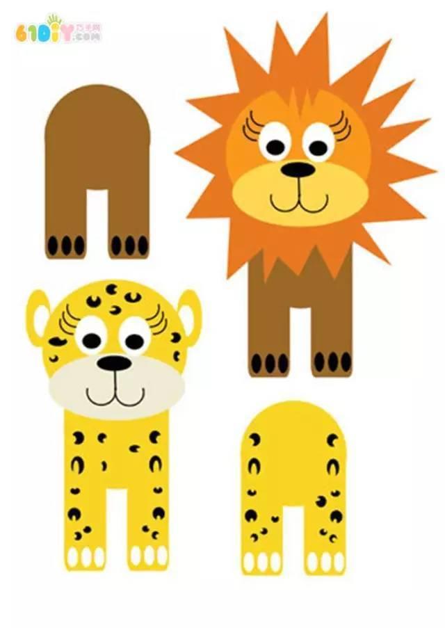 原标题:幼儿园创意亲子手工,玩教具,附手工模板 一,黄色卡纸老虎  准备材料:卷纸筒、黄红棕三色卡纸、画笔、剪刀、带有眼睛图案的胶带 步骤教程:先取一张黄色卡纸包围卷纸筒,并剪出一长两短的条状卡片,分别做小老虎的尾巴和腿。  做好小老虎的脸部,再画一个花状的卡片毛发