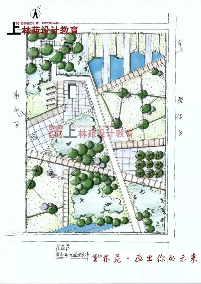 滨水广场手绘快题