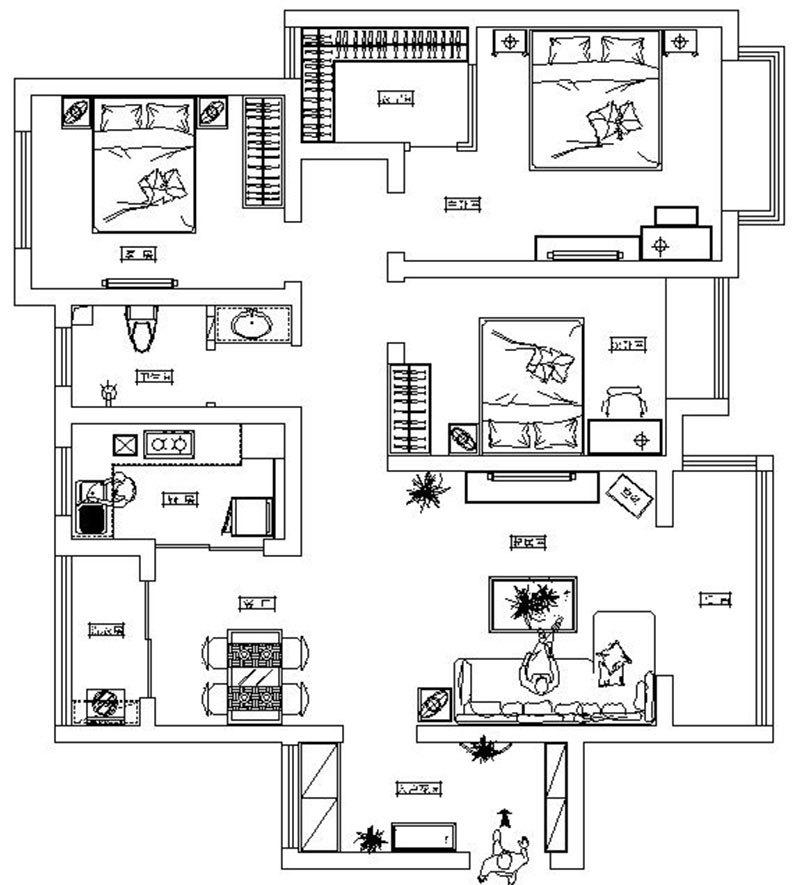 龙熙湖畔135平三室两厅户型装修设计平面布局——郑州美巢装饰 0371图片