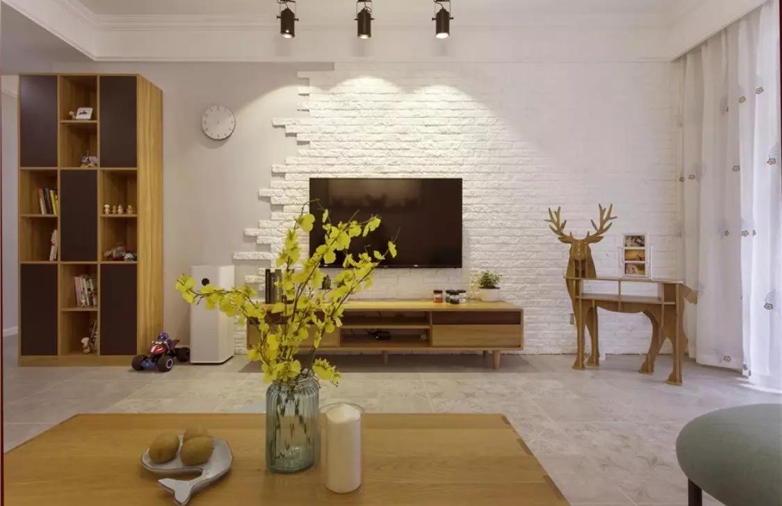 除了电视墙,沙发墙做文化砖背景墙也是不错的设计,可以达到与文化砖电视墙类似的设计感.图片