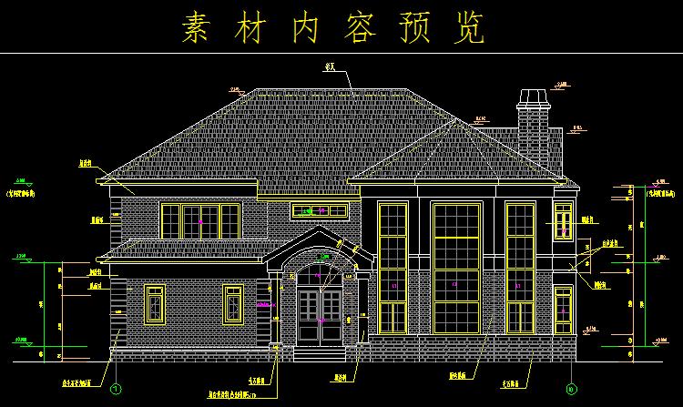 其它 正文  素材为cad别墅设计图,全套别墅施工图,素材内容包含131套