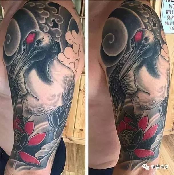 并且也是希望自己                    都会选择仙鹤纹身图案,纹在图片