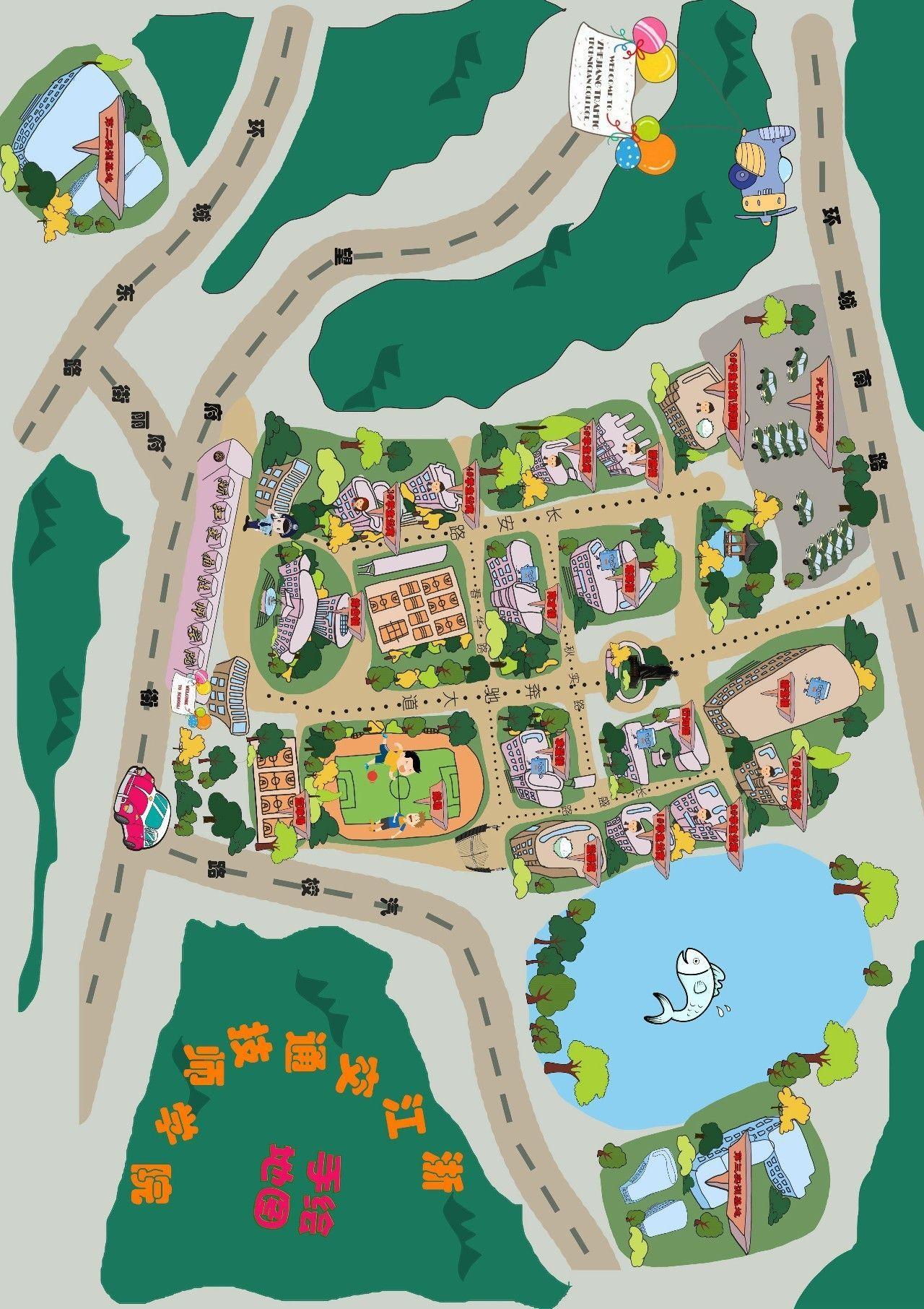 教育 正文  后来, 一幅萌萌哒手绘校园地图出现在了校园一角, 这个