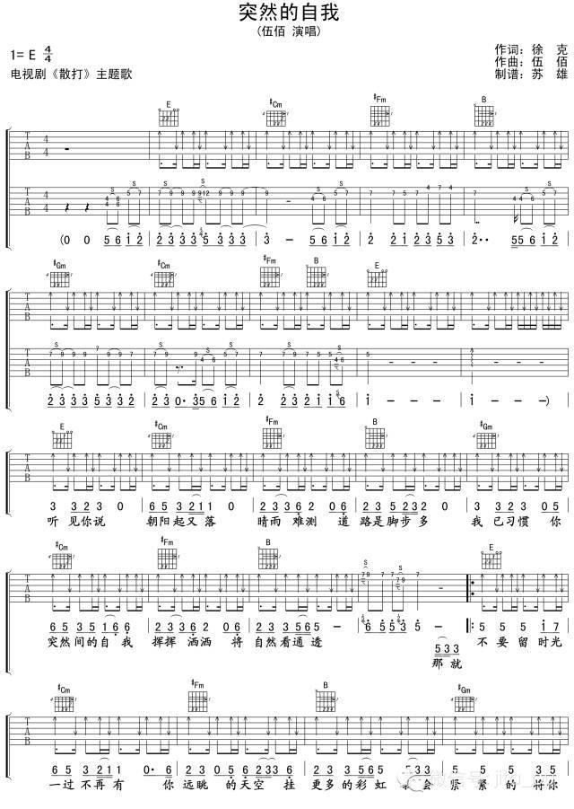 吉他谱丨伍佰《突然的自我》