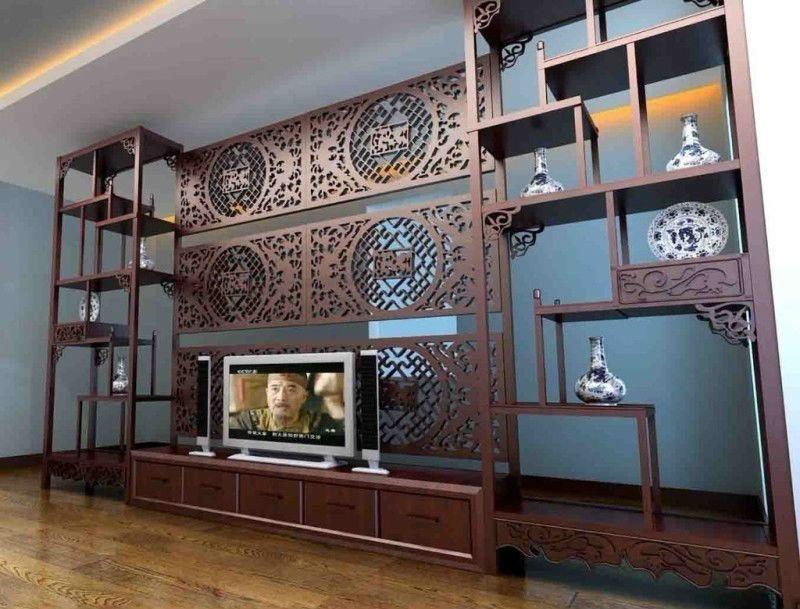 中式餐厅博古架隔断效果图,将客厅与餐厅隔开,从空间上有利区分.