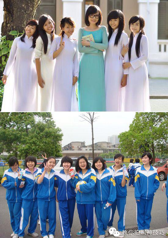 中国和越南女生校服对比!