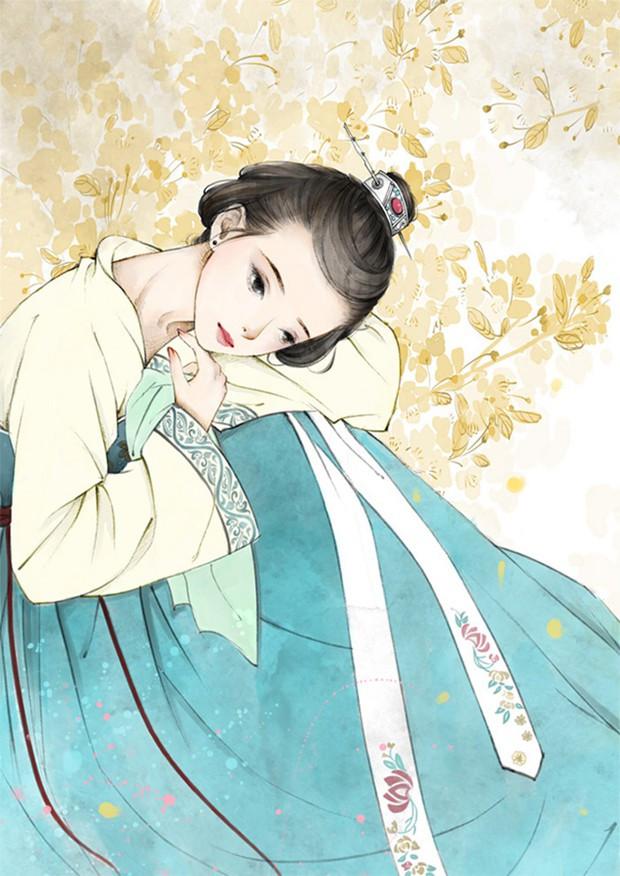 优雅而古典的中国风手绘美女插画