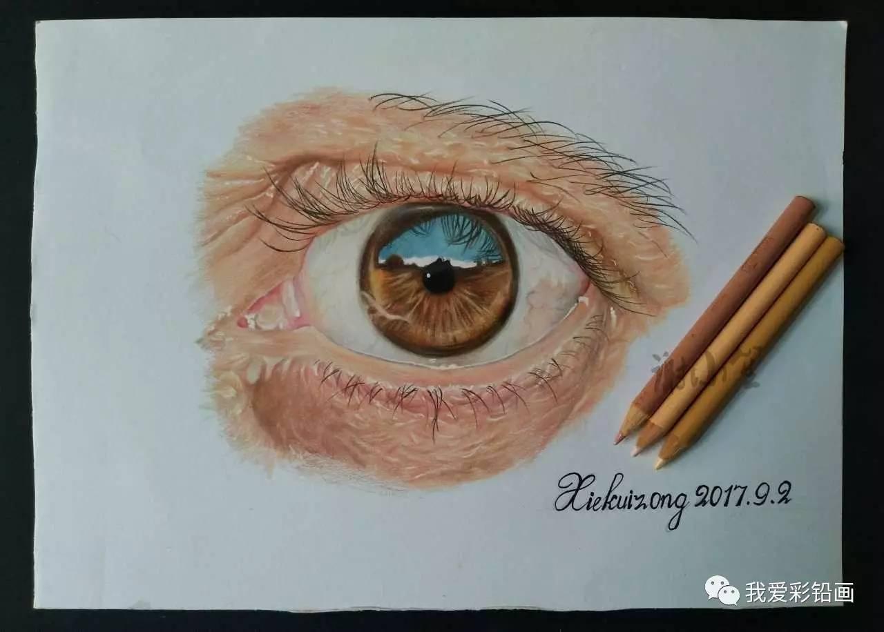 超写实彩铅手绘,画个眼睛,用时十个小时左右