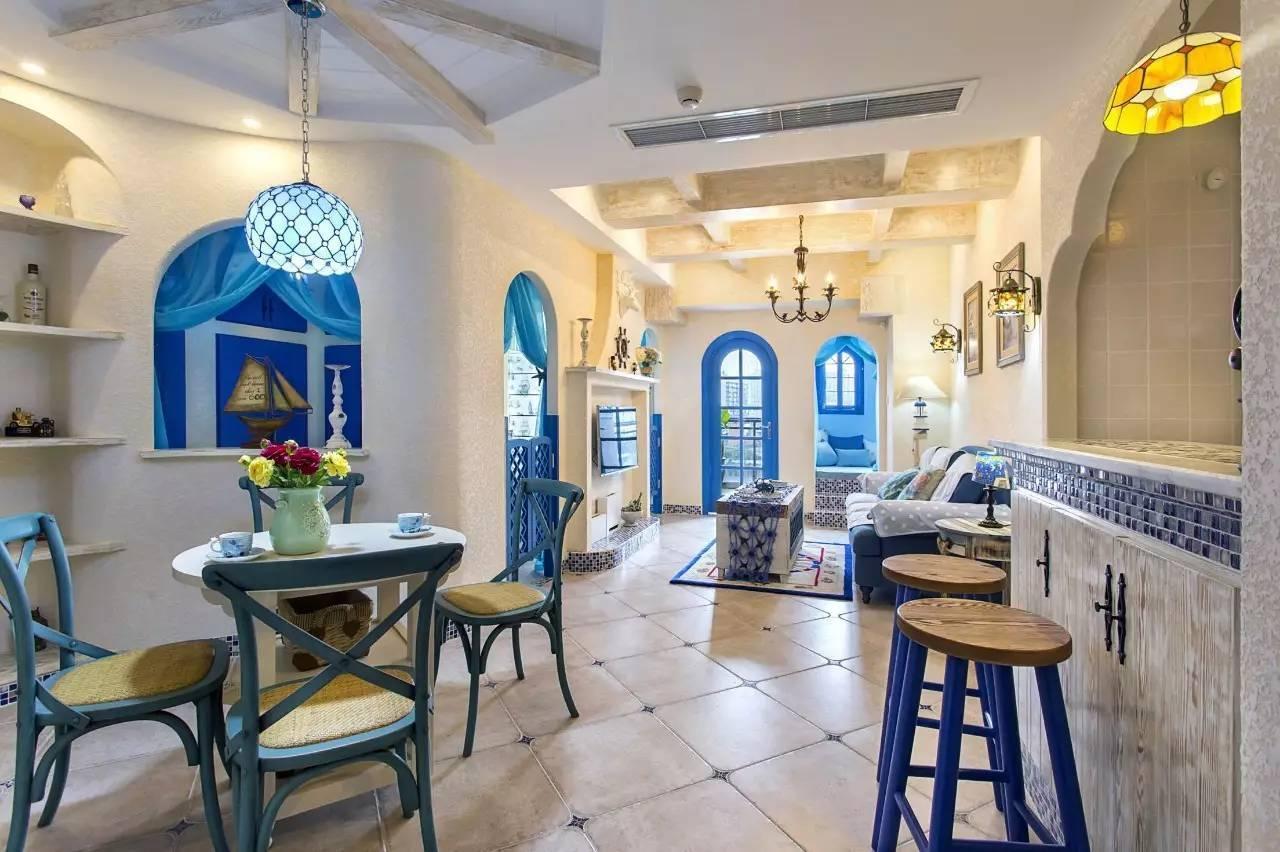 地中海风格的65平小户型二居室,充满了异域情调!