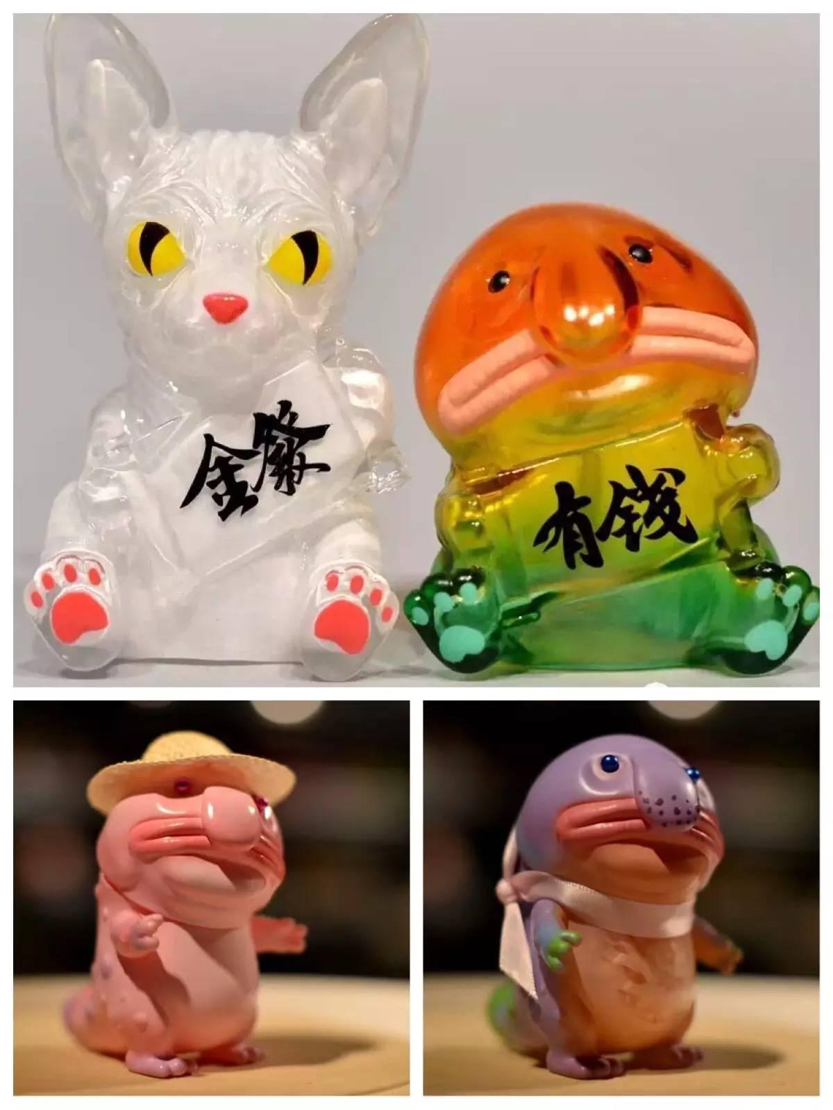 水滴鱼圆溜溜的小眼睛,极其夸张的大鼻子、大嘴巴和可爱的小短腿儿,也是   丑萌丑萌   的呢,别以为这只是设计师臆想出来的形象,这种生物可是真实存在的~   这次我们的作者游志成选择使用了   原谅色   无毛猫、鱼化龙、水滴鱼   ,分别是来自三个不同的