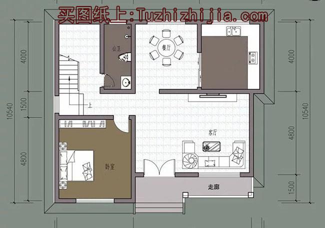 120平二层别墅房屋cad设计图,借钱都要盖的户型!_突袭