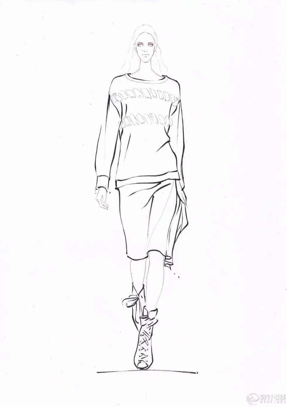 时装手绘 | 马克笔时装画,线稿