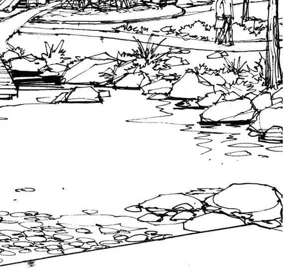 文化 正文  石在方案设计手绘画面中通常以两种状态出现,一种是与水的