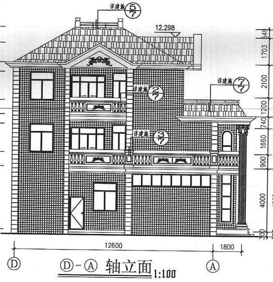 立面图 一层设有入口玄关,客厅,卧室,卫生间,车库,餐厅,厨房;二层设