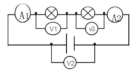 电路开关闭合后,v1,v2,v3的示数分别是8v,9v,4v,则l1,l2,l3两端的电压